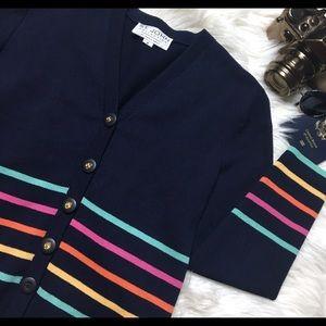 ST. JOHN Collection Rainbow Stripe Navy Cardigan